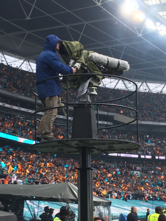BBC sideline TV at the NFL game in London