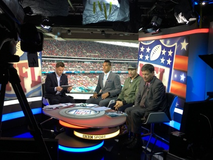 BBC studio at Wembley Stadium for the NFL game in London with Harry Connick, Jr.