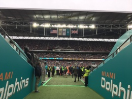 Miami Dolphins tunnel at Wembley Stadium for the NFL London game