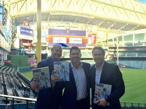 Brian Dubiski, Tom Zenner, Thomas Hensey promoting the Astros Championship book
