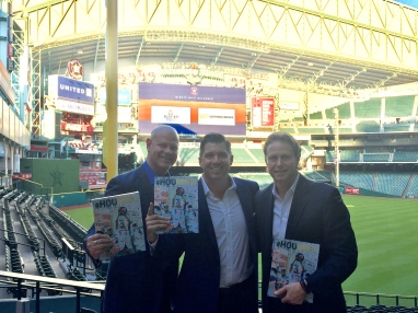 Brian Dubiski, Tom Zenner, Thomas Hensey promoting the Astros Championship book