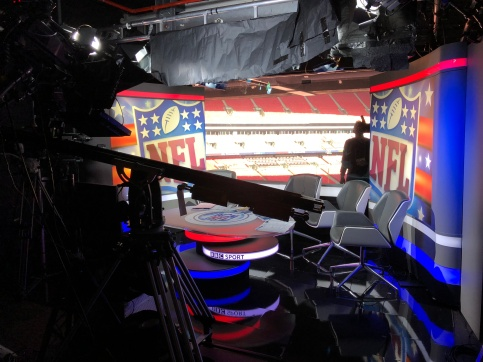 BBC Broadcast studio at Wembley Stadium in London for the NFL game - Chargers vs Titans