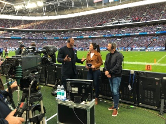 Sideline interview with Heisman Trophy winner and NFL great Eddie George at the NFL game in London at Wembley Stadium between the Chargers & Titans