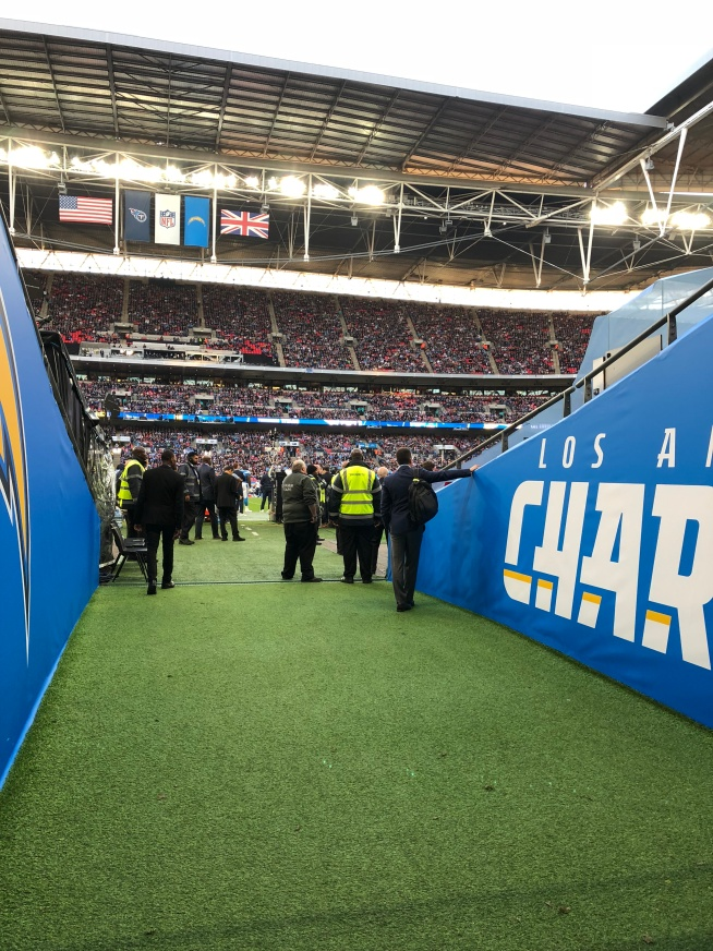 A view from the Chargers tunnel at Wembley Stadium in London 🇺🇸🏈🇬🇧 #RhinoUK